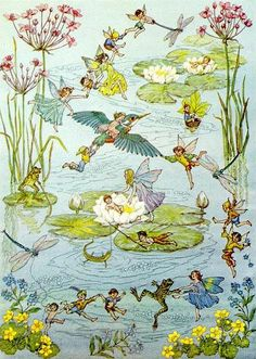 Charming! 'Water Dance' by English artist Molly Brett (1902-1990) ~*~ 'Molly (Mary Elizabeth) Brett grew up in Surrey, Great Britain, surrounded by animals and nature. Her mother, Mary Gould Brett, was a respected animal painter who encouraged her daughter to paint from life, and this is reflected in Molly's gift for making her animals look thoroughly naturalistic while giving them human characteristics and activities.'