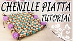 Tutorial Chenille piatta con perline - Come fare Chenille piatta per bra...