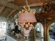 What a charming lamp and shade with roses