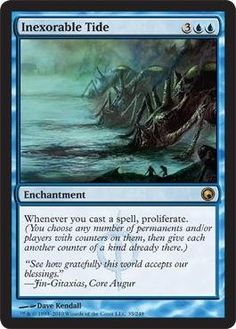 Magic: the Gathering - Inexorable Tide - Scars of Mirrodin by Wizards of the Coast. $0.81. From the Scars of Mirrodin set.. This is of Rare rarity.. A single individual card from the Magic: the Gathering (MTG) trading and collectible card game (TCG/CCG).. Magic: the Gathering is a collectible card game created by Richard Garfield. In Magic, you play the role of a planeswalker who fights other planeswalkers for glory, knowledge, and conquest. Your deck of cards represen...