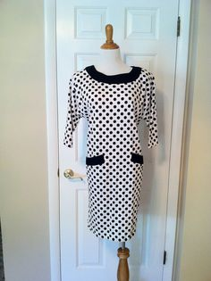 Vintage Black and White Polka Dot Jersey Shift by PDeeVintage, $8.25