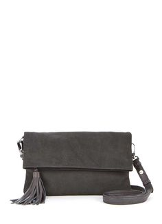Charcoal Fifi Nubuck Clutch | Bags & Small Leather Goods | MintVelvet