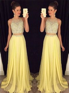 Buy Two Piece Prom Dress/Evening Dress - Yellow A-Line Crew Neck Sweep Train Beading Special Occasion Dresses under US$ 168.99 only in SimpleDress.