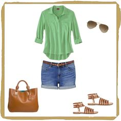 """""""denim and green"""" by mdharding on Polyvore"""