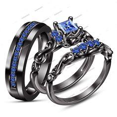 14K Black Gold Finish Princess & Round Sapphire His & Her Trio Wedding Ring Set