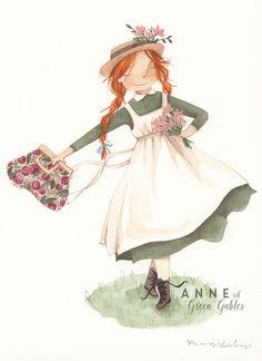 Anne of Green Gables is one of my favorite books. E Bird, Tomorrow Is A New Day, Anne White, Anne Shirley, Digital Art Girl, Bear Art, Country Art, Cartoon Art, Cute Art