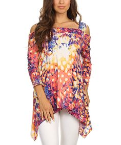 Look at this Karen T. Design Magenta & Purple Abstract Cutout Top - Women on #zulily today!