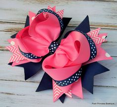 Girls hair bows Navy blue Pink Hair bows by PoshPrincessBows1, $12.99
