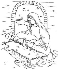 Mary Put Baby Jesus In A Manger Coloring Page