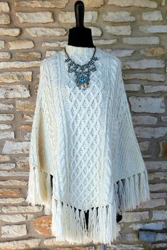Retro Southwestern JCrew Cableknit Poncho with by crazycraftchica, $38.00