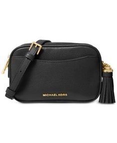 Luxe leather gets accented with polished gold-tone hardware and an on-trend (removable) tassel accent on the Michael Michael Kors Pebble Leather Convertible Crossbody Small Belt Bag. Michael Kors Crossbody, Handbags Michael Kors, Crossbody Bag, Cheap Michael Kors, Black Cross Body Bag, Mens Gift Sets, Online Bags, Baby Clothes Shops, Handbag Accessories