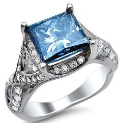 3.03ct Princess Cut Blue Diamond Engagement Ring 18k White Gold ... my absolute favorite