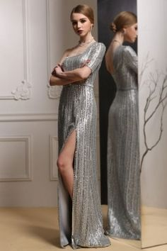 Dressesmall Sequins One Shoulder Split Front Gray Evening Gown Evening Gowns Online, Your Perfect, One Shoulder, Sequins, Gray, Formal Dresses, Beautiful, Fashion, Dresses For Formal