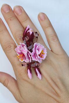 Stud Sakura Ring Sakura Ring  cherry blossom by Jewelrylimanska