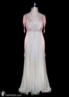 Wedding Dress, Antique Edwardian Sequined Beaded Ivory Silk Chiffon  Fairytale Fantasy, Sleeveless, Couture