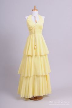 I wish since i got my wedding dress here! 1970's+Yellow+and+White+Polka+Dot+Tiered+Halter+Gown+:+Mill+Crest+Vintage