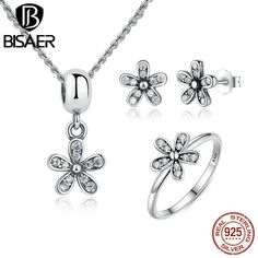 BISAER Genuine 925 Sterling Silver Jewelry Set Dazzling Daisy & Clear CZ Jewelry Sets Sterling Silver Jewelry Accessories HPS015