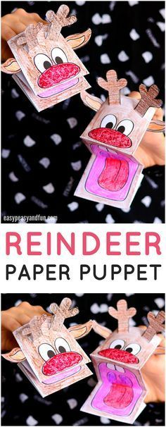 Printable Reindeer Paper Puppet Craft. Fun Christmas craft idea for kids to make.