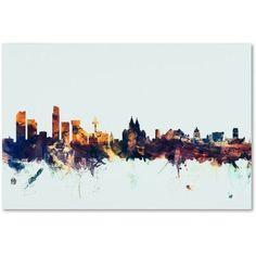 Trademark Fine Art Liverpool England Skyline Blue Canvas Art by Michael Tompsett, Size: 30 x 47, Multicolor