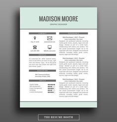 Resume Template With Matching Cover Letter And Reference Page