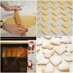 Biscoitos de Manteiga  Ingredientes:  300g de farinha  200g de açúcar  100g de manteiga  1 ovo  1 pitada de sal   Preparação:  Misture todos os ingredientes até obter uma mistura homogénea e depois deixe repousar no frigorífico durante pelo menos 30 minutos. Estique a massa numa fina camada e corte em várias formas com os moldes de biscoitos.  Coza num forno pré-aquecido durante cerca de 25-30 minutos No fim polvilhei com açúcar em pó. Kitchen Recipes, My Recipes, Sweet Recipes, Cookie Recipes, Favorite Recipes, Yummy Cookies, Cupcake Cookies, Blog Da Carlota, Small Cake