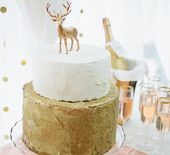 Gold and White Buttercream Cake