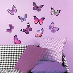 "Виниловые наклейки ""Бабочки Ультрафиолет"", 10 шт. Ссылка для заказа:http://decoretto.ru/babochki-dekor-sten-babochkami/vinilovyie-nakleyki-babochki-ultrafiolet-10-sht./"