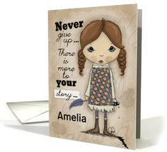 Girl with Plume-Customizable Name-Get Well for Cancer Patient card
