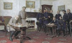 Robert E. Lee surrenders the Army of Northern Virginia to Ulysses Grant.