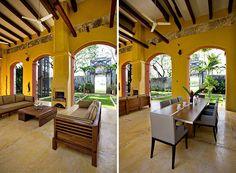Portico Living and Dining Alfesco    Master Bedroom Suite Casa Nueva    Hacienda San Antonio near Acanceh about 30 minutes from Merida available for vacation rentals at Best of Yucatan and Urbano Rentals