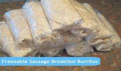 Freezable Sausage and Egg Breakfast Burritos.