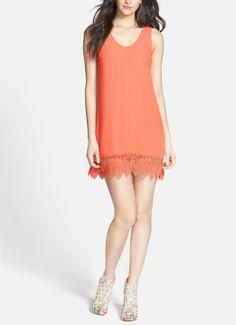 Oh, this peach crochet hem silk blend shift dress is so adorable.