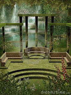 fantasy gardens | Fantasy Garden With Columns Royalty Free Stock Images - Image ...