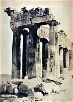 One of the earliest archival images of the Parthenon and its magnificent Doric columns were captured by Greek photographer, Dimitris Konstantinou in Old Pictures, Old Photos, Greece History, Greece Art, Ancient Greek Art, Parthenon, Rare Photos, Art And Architecture, Archaeology