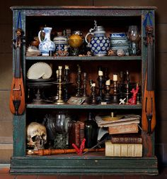 Off track for a moment: Kevin Best is a contemporary photographer who shoots still lifes in the manner of the Century Dutch Artists. Here is a sample of his props. Vitrine Vintage, Cabinet Of Curiosities, Witch House, Contemporary Photographers, Dutch Artists, Displaying Collections, Box Art, Shadow Box, Vignettes