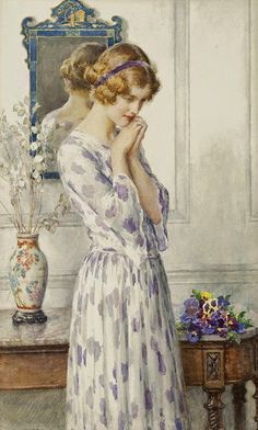 View Portrait of an Edwardian Girl with Pansies in a Drawing Room by William Henry Margetson on artnet. Browse upcoming and past auction lots by William Henry Margetson. Blog Art, Creation Art, Woman Painting, Beautiful Paintings, Pansies, Lilacs, Vintage Images, Female Art, Art Museum