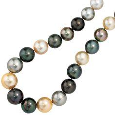 Halskette Südsee Perlen-Kette 45 cm 750 Gold Weißgold 12 Diamanten Brillanten A3