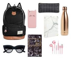 """""""What's in my backpack"""" by ameliaxsewell ❤ liked on Polyvore featuring Kate Spade, S'well, russell+hazel, BackToSchool, backpack, WhatsInMyBag and inmybackpack"""