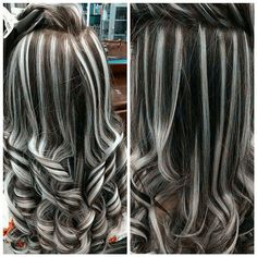 Gray Lace Frontal Wigs touch of gray shampoo – wigsshort Gray Hair Highlights, Hair Streaks, Dramatic Highlights, Grey Wig, Pinterest Hair, Silky Hair, Gorgeous Hair, Pretty Hairstyles, Curly Hair Styles