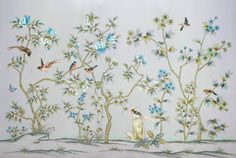 Chinese style Unique Hand-painted silk wallpaper painting flowers and fruit with birds silk wallcovering many pictures optional
