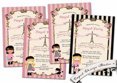 French Birthday invitation. Parisian. Eiffel by CupidDesigns