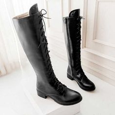 5ff6e8b2acc Hot Newest Women Knee High Boots Fashion Big Size 34 43 Lace Up Rubber Sole  Low Square Heels Ladies Autumn Spring Platform Shoes-in Knee-High Boots  from ...