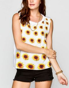 OpenSky provides a platform for connection based shopping where people connect with their friends to discover, buy and share unique items made by extraordinary small businesses from around the world. Womens Muscle Tank, Muscle Tanks, Sunflower Print, Floral Tops, Latest Trends, Classy, Tank Tops, My Style, Blouse