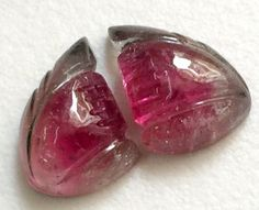 Pink Tourmaline Hand Carved Matched Pairs by gemsforjewels on Etsy