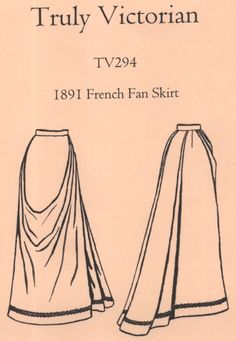 OLD TIME PATTERNS - Truly Victorian #294 - 1891 French Fan Skirt Pattern