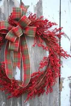 Christmas Wreath, Red Berries, Plaid Bow via Etsy.