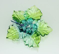 SERENITY Sculptural Lampwork Glass Leaf Beads  by LisaKanDesigns, $25.00