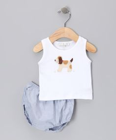 Take a look at the White Dog Tank & Blue Diaper Cover - Infant on #zulily today!