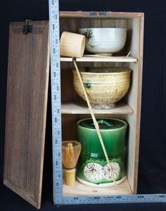 tanzakubako, tea ceremony utensils in a box for traveling. 43cm tall