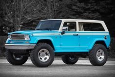 Based on the Wrangler yet inspired by the full-size, 1970s era Cherokee, the Jeep Chief Concept is a throwback to the beach rides of yesteryear. Features include a 3.6-liter Pentastar V-6 engine with six-speed manual transmission, a two-inch lift kit...